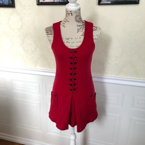 Vintage Dresses & Skirts - Vintage Red 1960's Knit Mini Dress